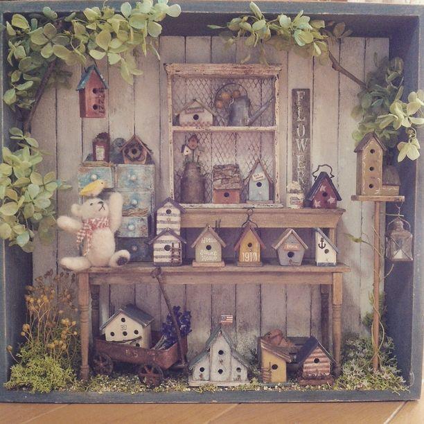 ミニチュアフレーム テディベアと森のバードハウス 巣箱