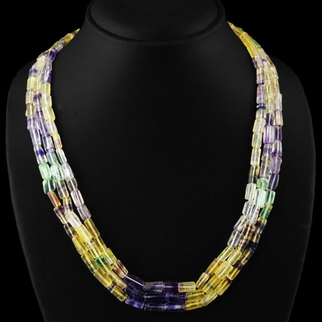 Genuine 420.00 Cts 3 Line Multicolor Flourite Beads Necklace FASHIONABLE BEAD NECKLACE