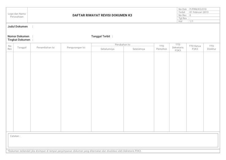 Contoh Form K3 : Formulir Daftar Riwayat Revisi Dokumen K3 (Keselamatan dan Kesehatan Kerja)