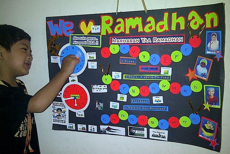 Ramadhan board th 2015 :) ada bentuk jam untuk tanda waktu imsak dan waktu maghrib  untuk menghitung reward aktivitas selama ramadhan, masing-masing anak memiliki warna bintang tersendiri yg ditempel di tiap bulatan-bulatan di badan si ulat, ada 30 bulatan warna-warni, huruf-hurufnya ditulis dengan angka arab, supaya lebih dikenal :)