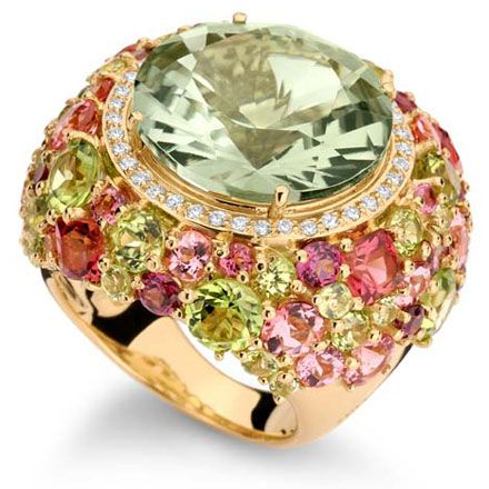 *Brumani renaissance rosé collection yellow gold with white diamonds, pink tourmaline, rhodolite and peridot