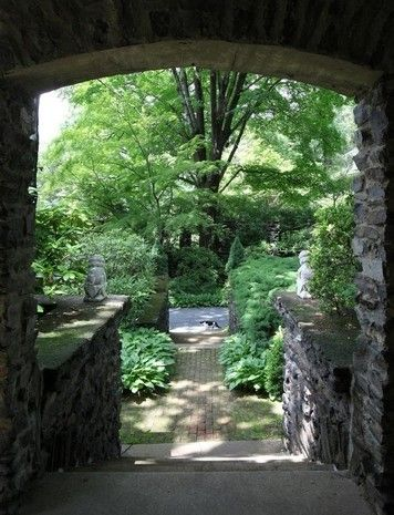 Front Archway At An English Style Stone Manor In Croton On Hudson,