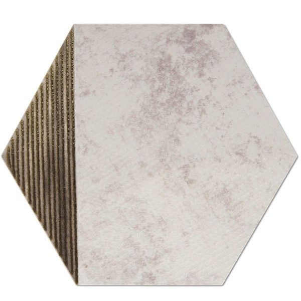 Heksagon Piramidal - płytki ścienne Dec. Piramidal Metalic Crema 17x15