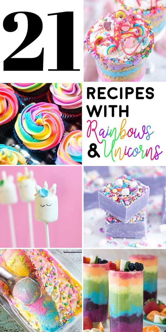 21 Recipes with Rainbows and Unicorns! Whether you're planning a unicorn party or a fun afternoon, this list of unicorn food and rainbow desserts will go perfectly with your UnicornFrappuccino!   HomemadeHooplah.com