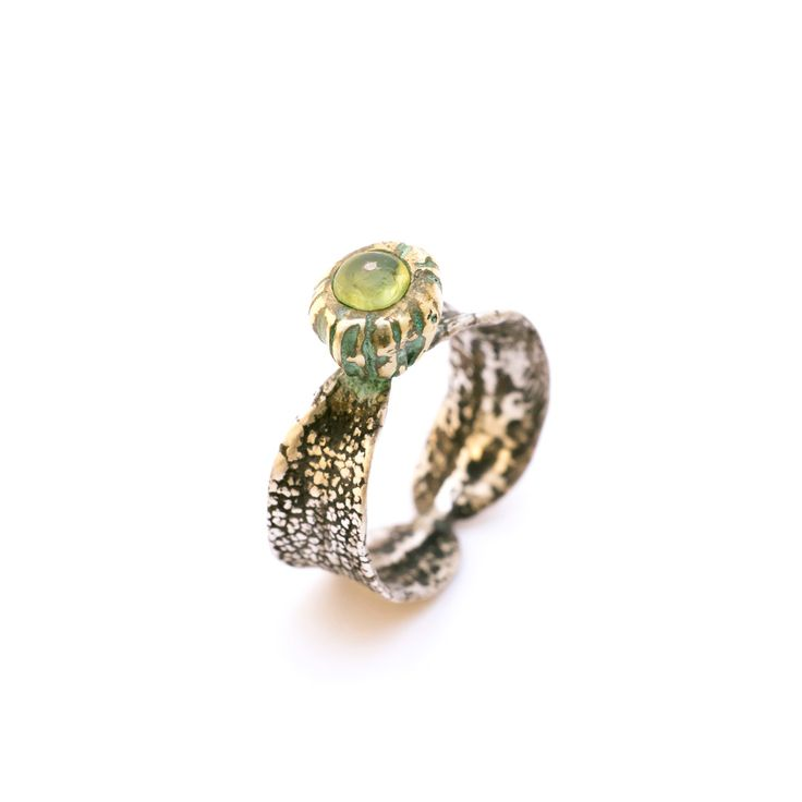 SilverBronze Sage Peridot Ring Oxidised Silver Ring made from sage leaf that carries a bronze tree fruit with a Peridot Stone.