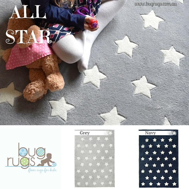 All Star Kids Rug from BugRugs in navy or grey.  These classic beauties are among our best seller every month!  The star design in neutral colours make these children's rugs perfect for shared spaces as they are cute for boys and girls.  Ideal for nurseries, bedrooms and playrooms.