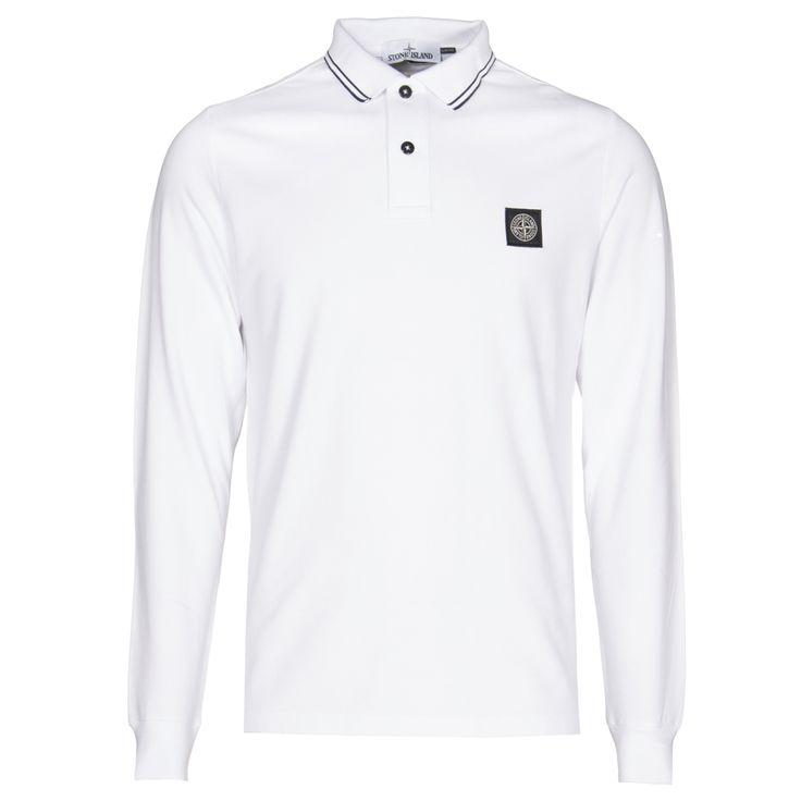 Stone Island : Polo Shirts : Long sleeve polo shirt in White : John Anthony Mens… XXL £110