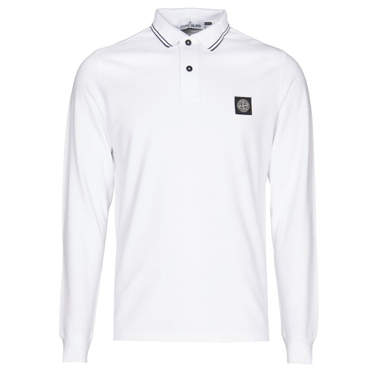 Stone Island : Polo Shirts : Long sleeve polo shirt in White : John Anthony Mens… XXL £110