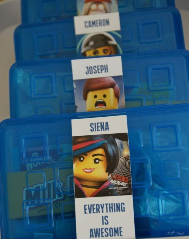 """Favor containers, """"everything is awesome,"""" Lego Movie birthday party via milissweets.com"""