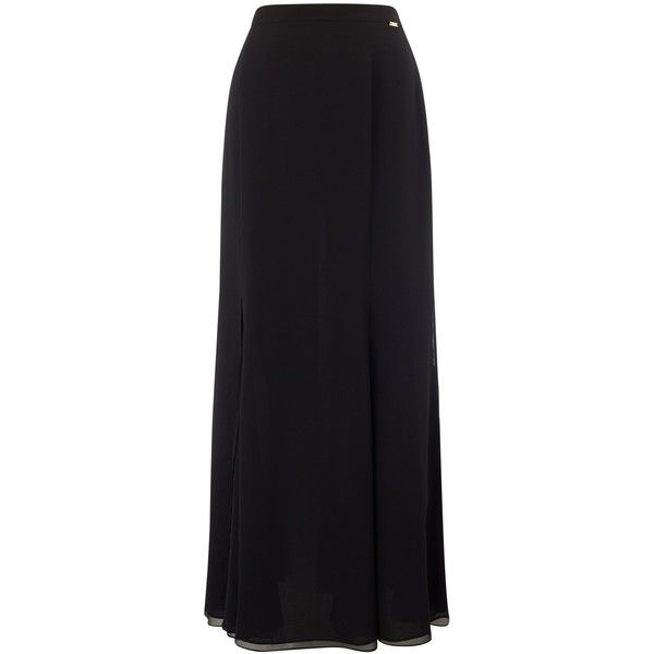 Jacques Vert Godet Maxi Skirt , Black found on Polyvore featuring skirts, black, flared maxi skirt, flared skirt, panel skirt, womens plus size skirts and long skirts