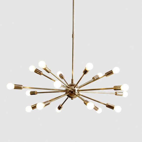 Lumière de starburst milieu du siècle moderne 18 bras en laiton Spoutnik lustre atomique
