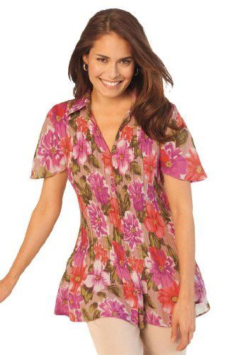 Only Necessities Plus Size Blouse In Crinkle Georgette Only Necessities. $34.99