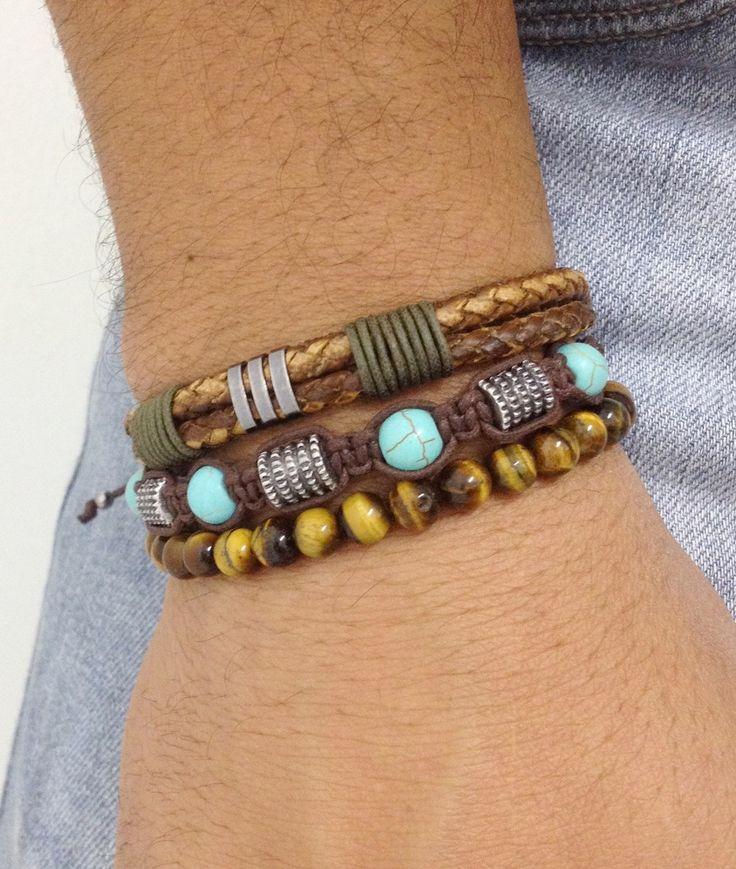 kit-pulseiras-couro-marrom-e-turquesa-shamballa