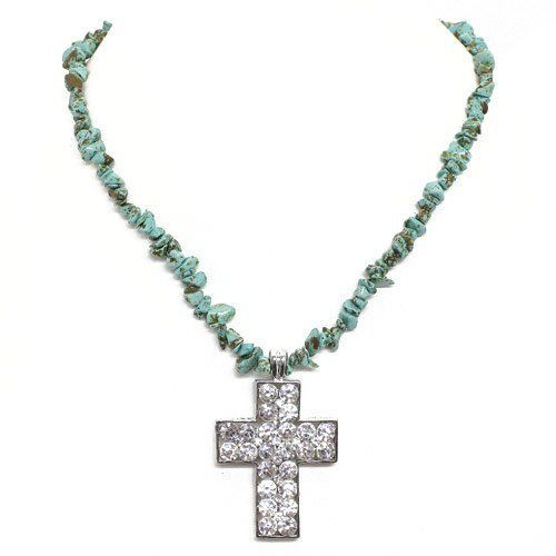 "Turquoise Cross Necklace; 18""L; Turquoise Stone Chips; Clear Rhinestone Cross; Lobster Clasp Closure Eileen's Collection. $24.99. Save 50% Off!"