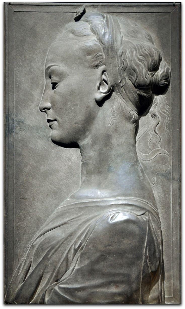 Young Woman, 1460-80 | Tuscan gray sandstone (Pietra serena), traces of paint Circle of Desiderio da Settignano.  Possibly carved by Ger da Settignano  Italian, c. 1424-1470