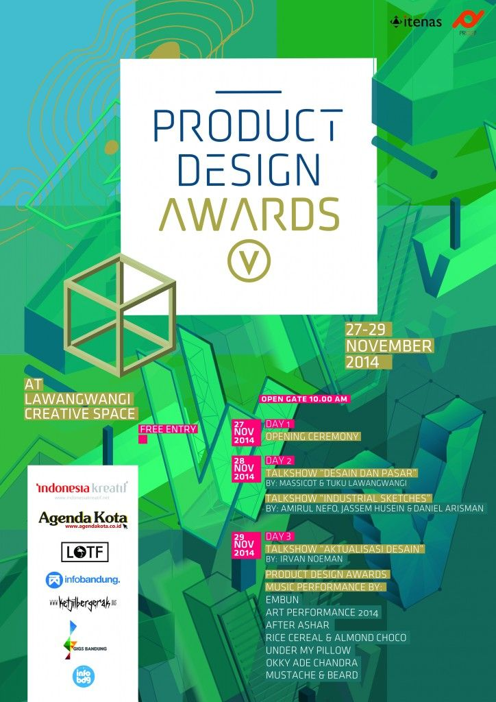 Buat AgendaLovers yang ada di Bandung dan juga sekitarnya kali ini Desain Produk ITENAS akan menyelanggarakan acara 'Product Design Awards ITENAS 2014' Sebuah pameran kerajinan terbesar Indonesia. Buat yang ingin Datang ke acara ini, Selengkapnya:  - Product Design Awards ITENAS 2014 - Hari Kamis-Sabtu, 27-29 November 2014 - At Lawangwangi Creative Space, Jl.Dago Giri No.99, Bandung.  Selengkapnya, baca disini http://agendakota.co.id/read/4523//product-design-awards-itenas-2014.html