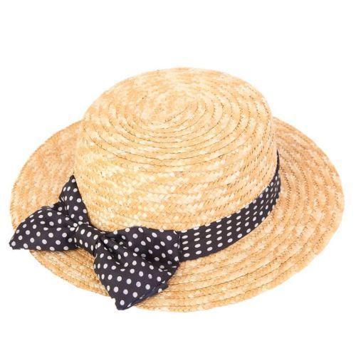 Cappello di Paglia Paglietta Donna Con Nastro E Fiocco A Pois 2 Taglie in Abbigliamento e accessori, Donna: accessori, Cappelli | eBay