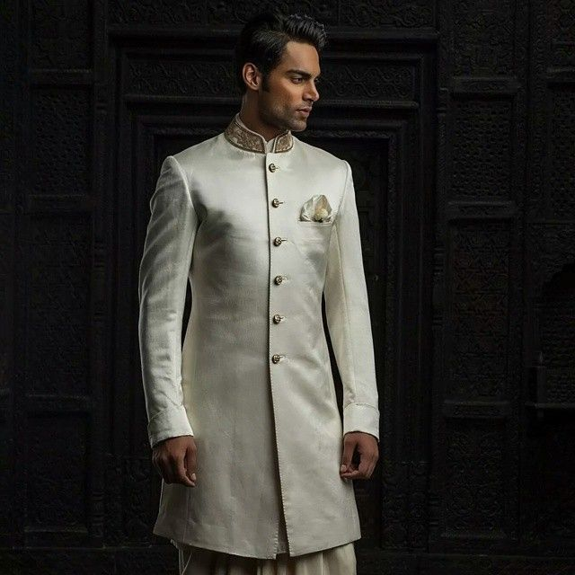 A collaboration between Tarun Tahiliani and Whitcomb & Shaftesbury, a Savile Row based company, will ensure that traditional Indian wear will have the fine tailoring of a custom made suit. #taruntahiliani #suit #indian #menswear #whitcomb #shaftesbury #savilerow #fashion #white