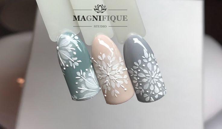 Snowflakes nails nail art Schneeflocke śnieżki na paznokciach