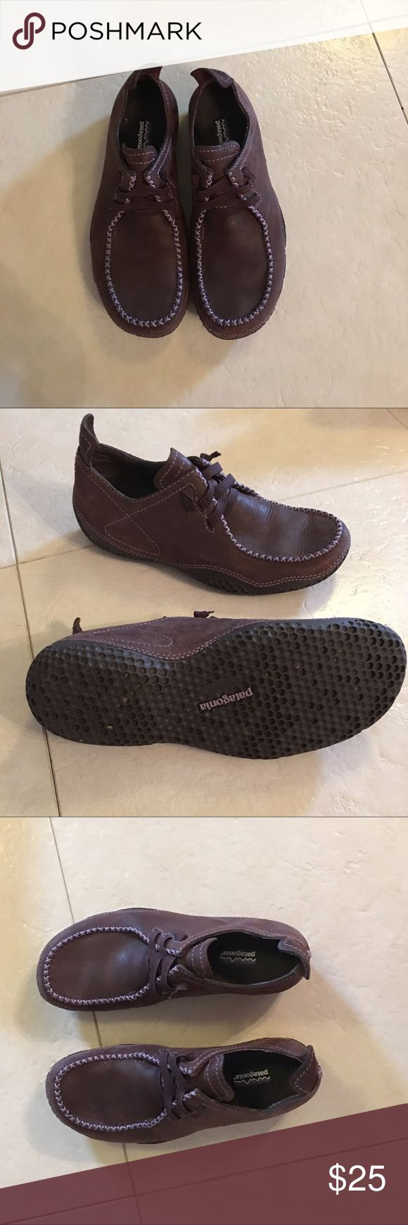 Patagonia Size 6 shoes Brown w/purple detail Size 6 Patagonia shoes. brown with purple detail. Slip on. Worn only a few times. Excellent condition. Patagonia Shoes
