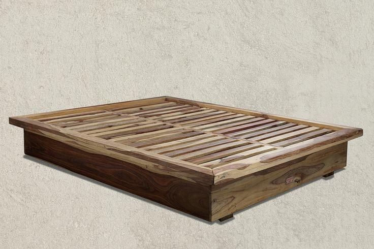 WAVERLY Black Velvet Bed from Sheesham solid wood