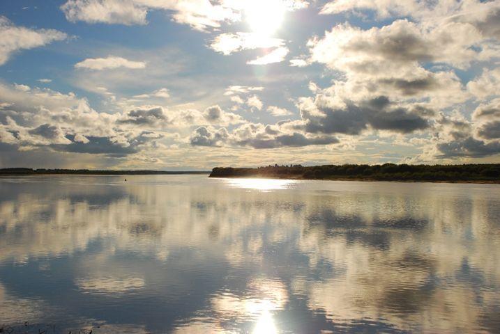 Vychegda River on a Sunny day, Republic of Komi