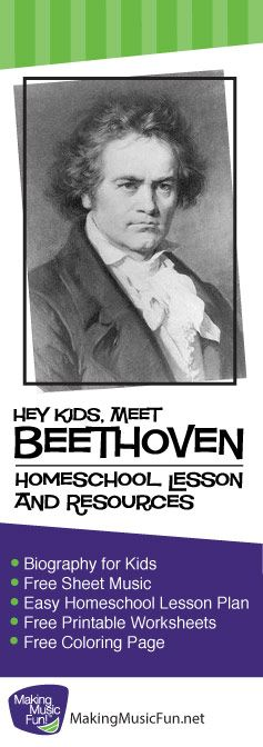 Ludwig van Beethoven | Homeschool Music Lesson Plans and Many More Resources - http://makingmusicfun.net/htm/f_mmf_music_library/homeschool-music-lessons-for-ludwig-van-beethoven.htm