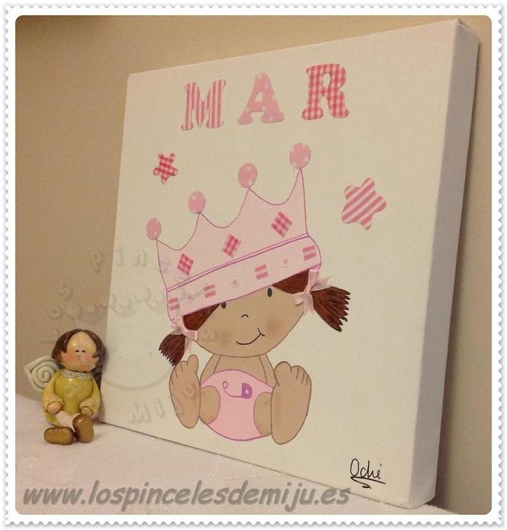 Princesita Mar, en tonos rosas. Lienzo personalizado en colores, nombre....