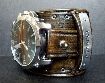 Leather Cuff Watch Steampunk Leather Watch by CuckooNestArtStudio