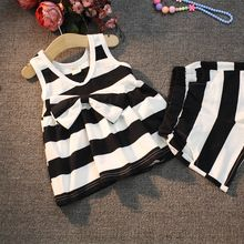 2016 Baby Girls Clothing Set Stripe Bowknot Vest +Shorts Clothes Suits PCs…