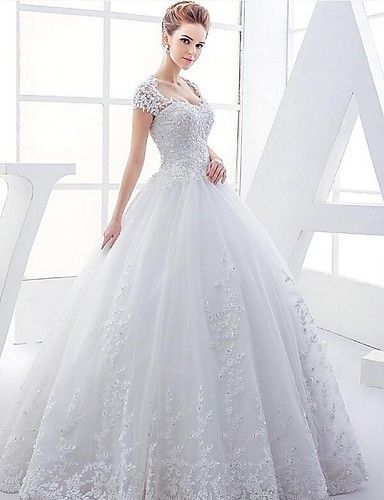 Ball Gown Wedding Dress - White Floor-length Queen Anne Satin / Tulle 4818378 2016 – $189.99