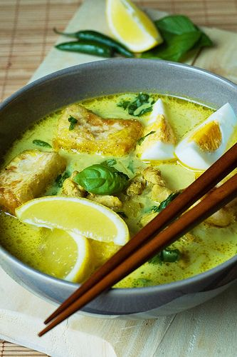 malaysian soup~has chicken, ginger, coconut milk, eggs and tofu, and a bunch of other ingredients. sounds good.