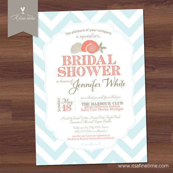 Beach Bridal Shower Invitation - Chevron Nautical Theme - Modern ...