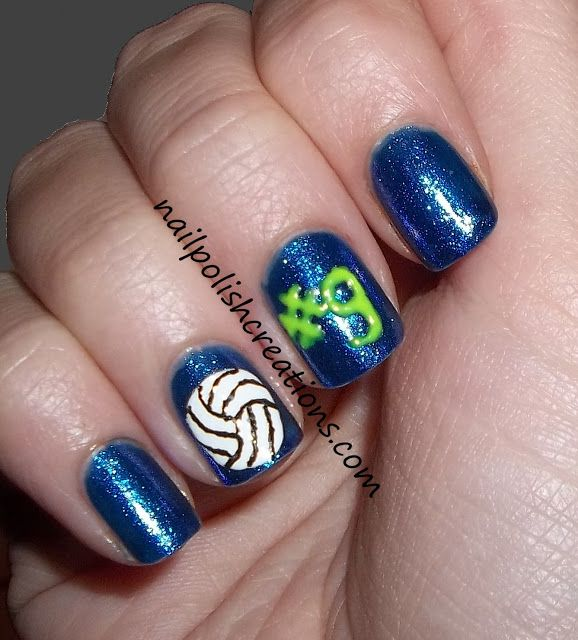 Volleyball nail art with cousin's jersey number... We should totally do this!