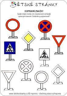 Výsledok vyhľadávania obrázkov pre dopyt dopravné značky pracovný list