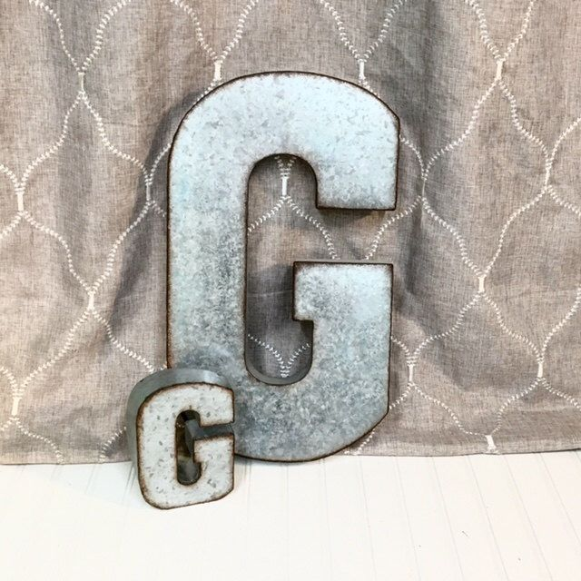 Large Metal Letter G/ Galvanized Metal Wall Letter/ Large Letter/Wedding/SSLID0034/Personalized/ Rustic Wall Art Industrial/ Wall by TheShabbyStore on Etsy https://www.etsy.com/listing/258309039/large-metal-letter-g-galvanized-metal