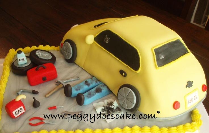 auto mechanics cake   Peggy Does Cake.: Roberts Mechanic Cake (click on photos to enlarge).