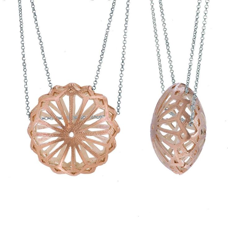 Handmade Long Rose Gold Plated Silver Chain Necklace With A Sea Urchin Pendant - Anthos Crafts