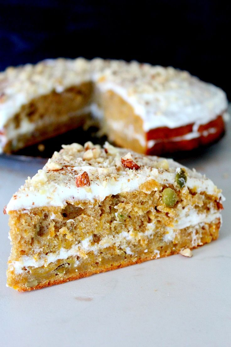 PUMPKIN CAKE RECIPE - Tired of the old pumpkin pie? This pumpkin cake recipe is the perfect treat for fall! Two layers of moist, delicious pumpkin cake, filled with lemon cheese frosting!