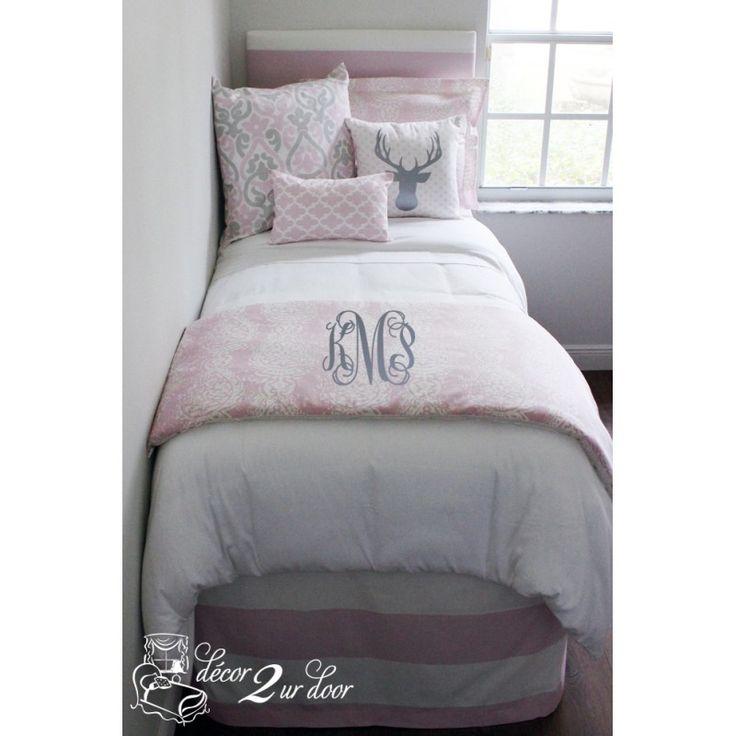 Superior Metallic Gray And Pink Dorm Room Bedding Custom Dorm Bedding Bella Pale  Pink Designer Bed In A Bag Set Part 23