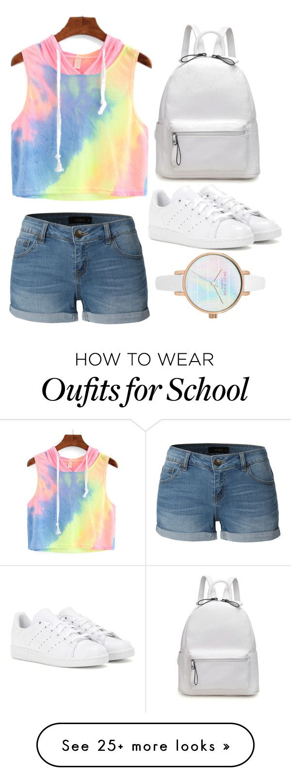 """Last day of School"" by abeerariaz on Polyvore featuring LE3NO and adidas"