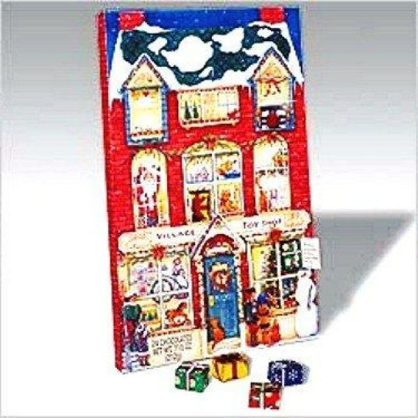 Christmas Toy Shop Advent Calendar with Solid Milk Chocolate Presents  Christmas Advent Calendar Filled With 24 #Solid #Milk #Chocolate Presents hiding behind doors and windows of this Victorian Village Toy Shop. Great way to start the season early and it makes counting down to Christmas delicious fun!