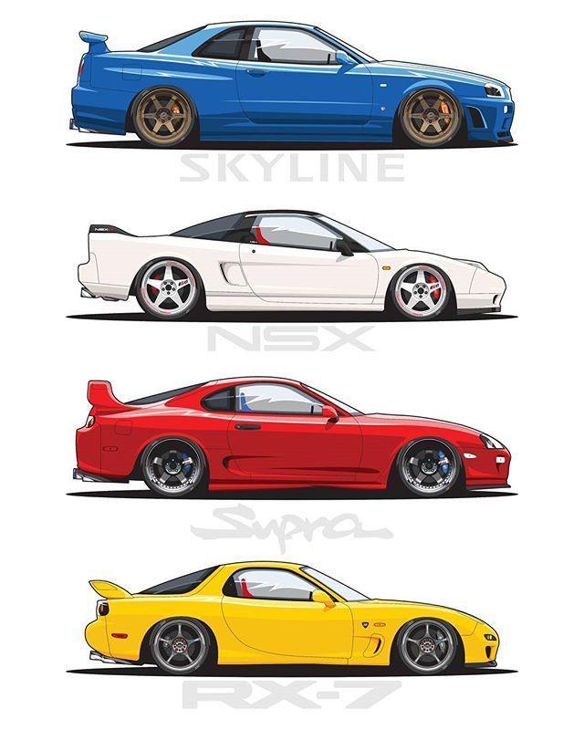 Nissan Gtr R34 Honda Nsx Toyota Supra Mazda Rx7 Car Drawings Jdm Japan Cars