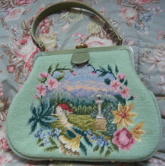 needlepoint handbag, via Flickr.
