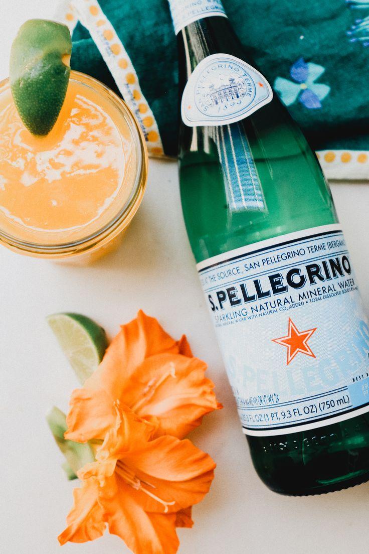 2 cups frozen mango + 1 bottle San Pellegrino + Juice from one lime + Lime wedges to garnish #SanPellegrino #ad