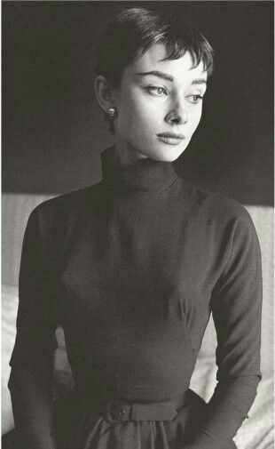Audrey Hepburn...Younger With A Very Short Hair Style.