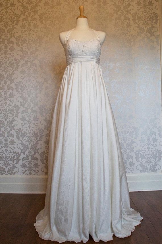 halter empire wasit A line taffeta wedding dress. $275.00, via Etsy.