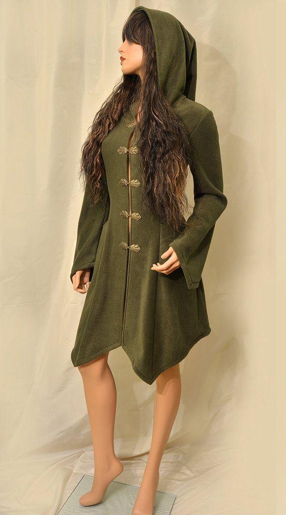 Olive Green Knee Length Fairy Elven Fleece by EuphoricGarments