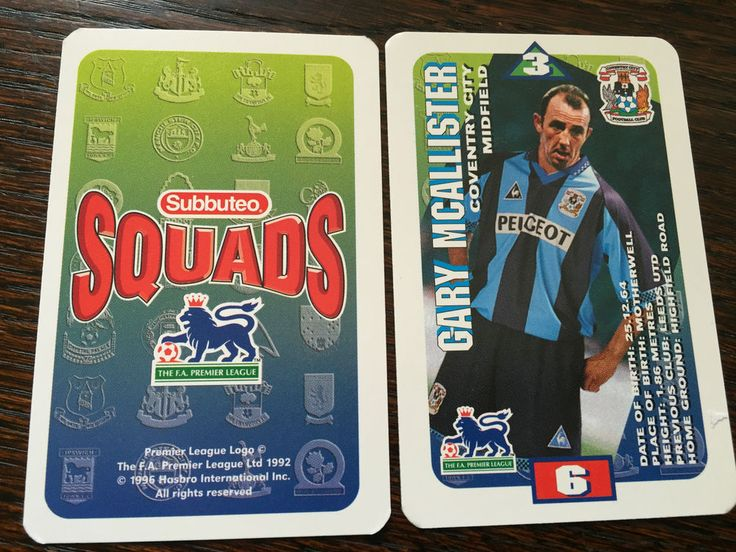 Subbuteo Squads 1996 Trading Card: Coventry City - GARY MCALLISTER