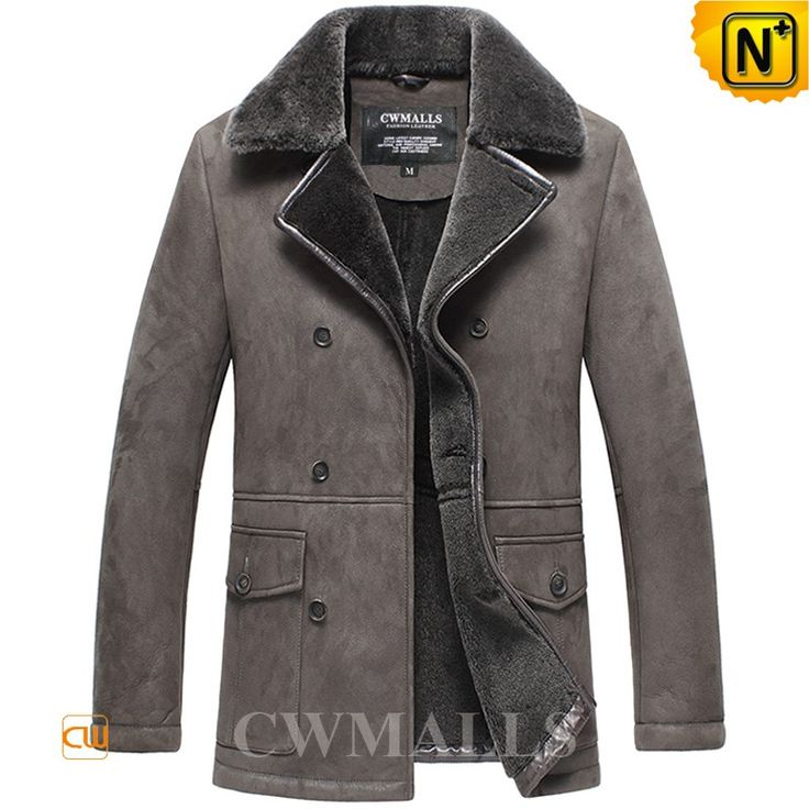 Men's Vintage Sheepskin Shearling Pea Coat CW858333 Handsome fashion men's sheepskin coat with double breasted crafted from natural sheepskin with fur shearling material, offers additional warmth and comfort, supple plush interior sheepskin coat featuring with shearling notched collar and flap pockets.  www.cwmalls.com PayPal Available (Price: $1587.89) Email:sales@cwmalls.com